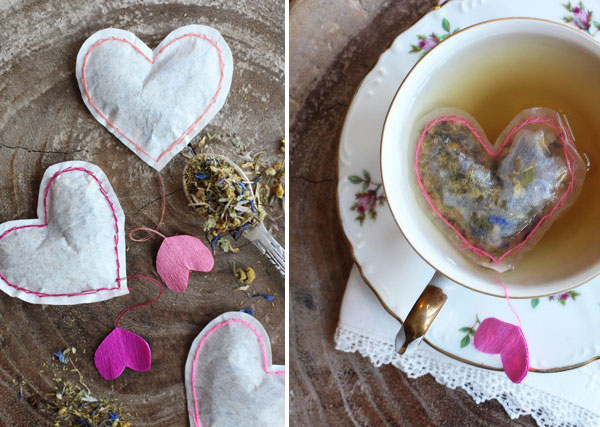 Heart tea bags