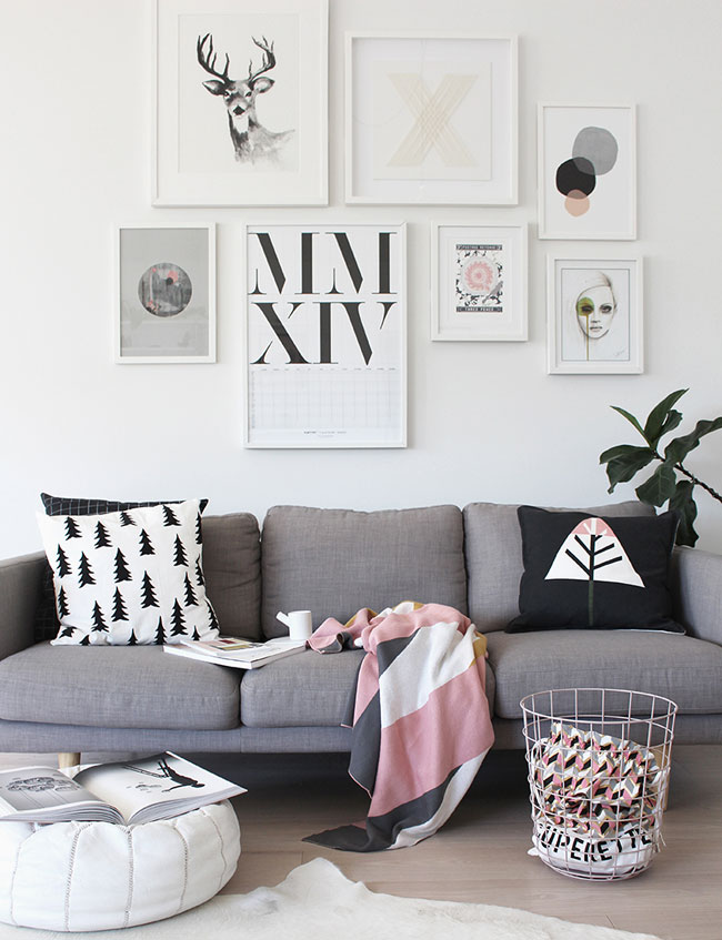 Pink, grey & geometric accents
