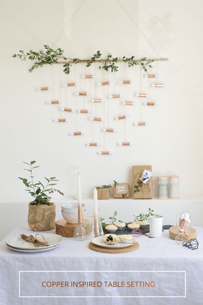 Copper inspired table setting