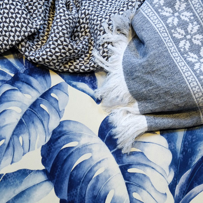 Hertex- blue throws and wallpaper