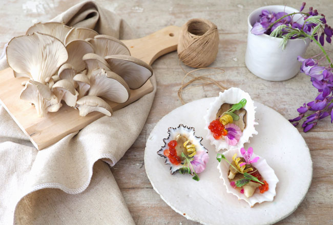 Oyster mushrooms and tapas
