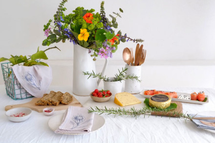 Rustic white table setting