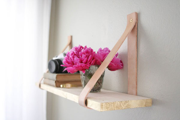 Leather shelf DIY
