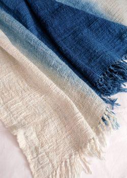 Textured Indigo Throw
