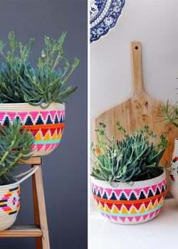 Summer DIY Painted Rope Basket