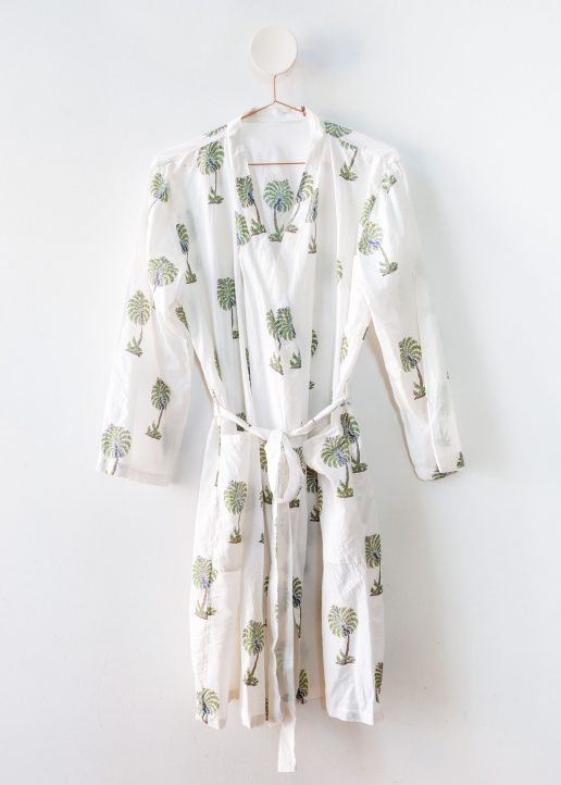 Palm print cotton gown